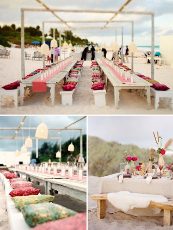 beach wedding colour pinks