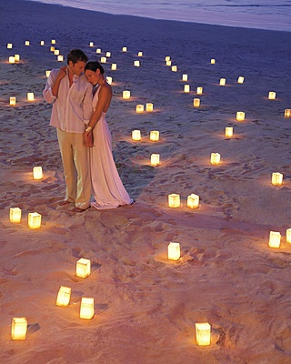 lighting beach wedding