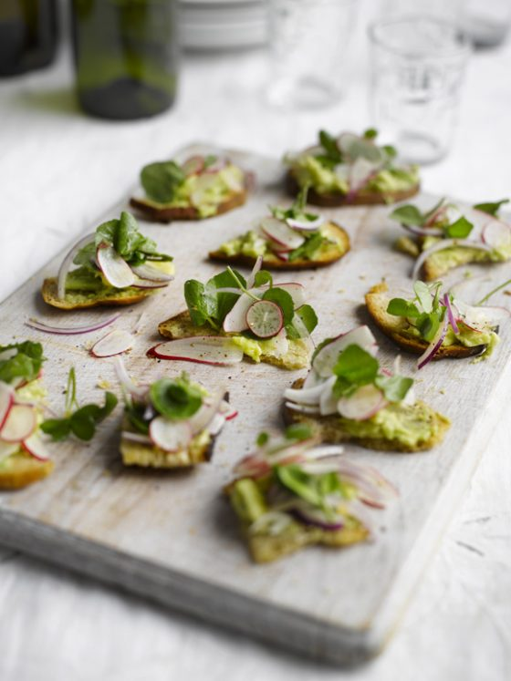 Toasted-sourdough-with-avocado-radish-and-watercress
