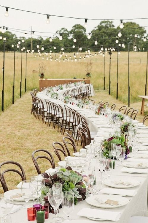 curved table rustic wedding